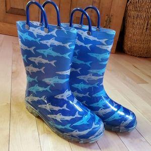 Western Chief Kids Light Up Shark Rain Boots SZ 13